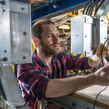PhD Student Ryan McFadden (UBC) working at the betaNMR setup at TRIUMF
